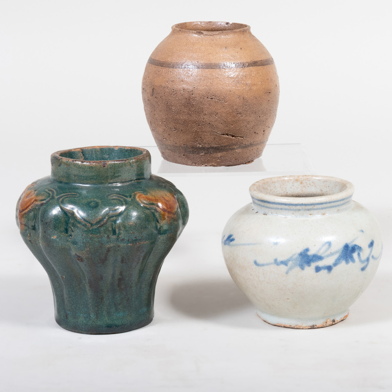 Three Asian Glazed Pottery Vases