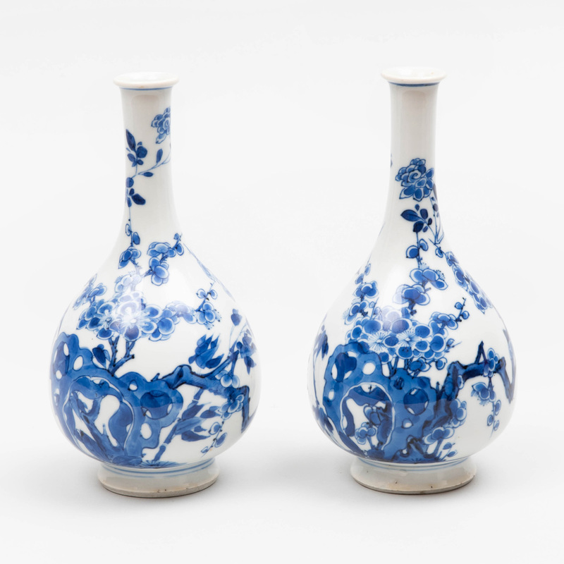 Pair of Chinese Blue and White Porcelain Bottle Vases