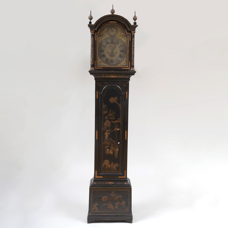 George II Black Japanned Longcase Clock