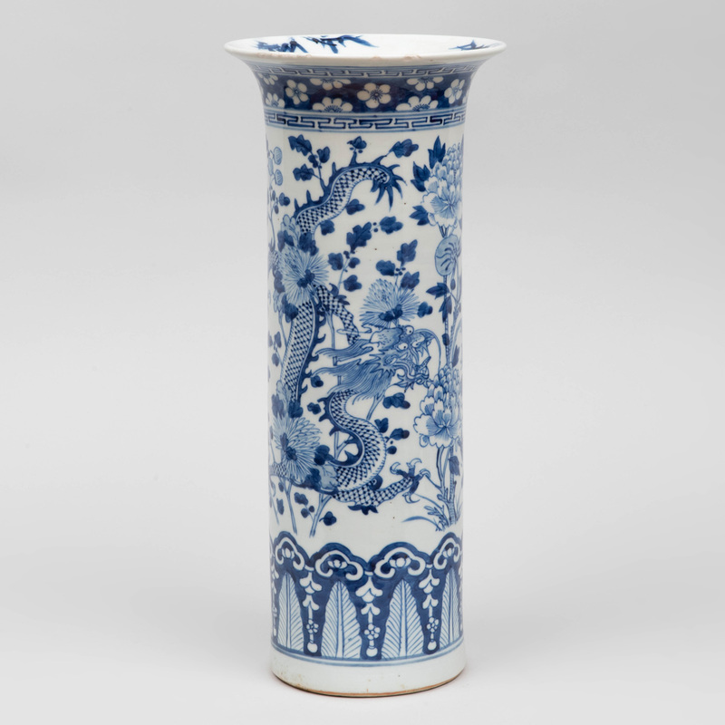 Chinese Blue and White Porcelain Cylindrical Vase