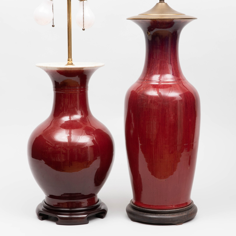 Two Chinese Copper Red Glazed Porcelain Vases, Mounted as Lamps