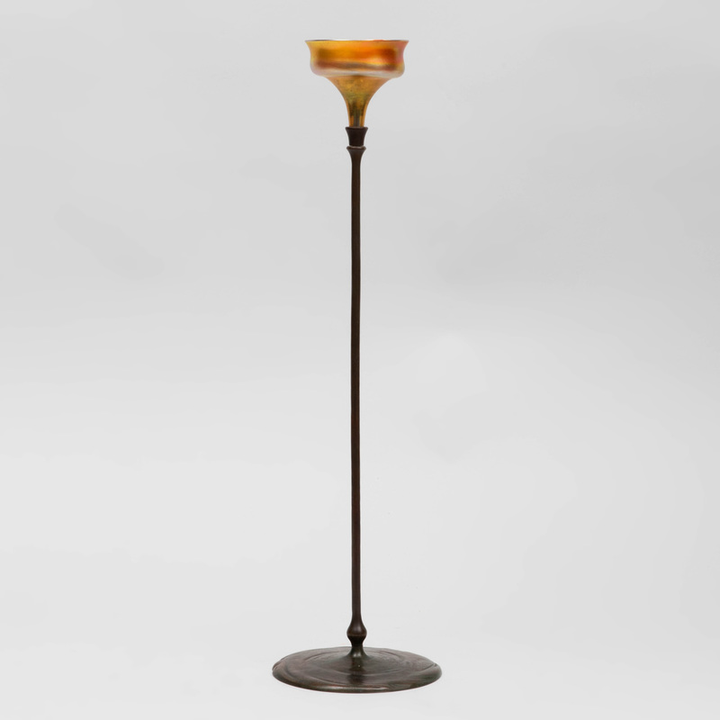 Tiffany & Co. Bronze and Favrile Glass Candlestick