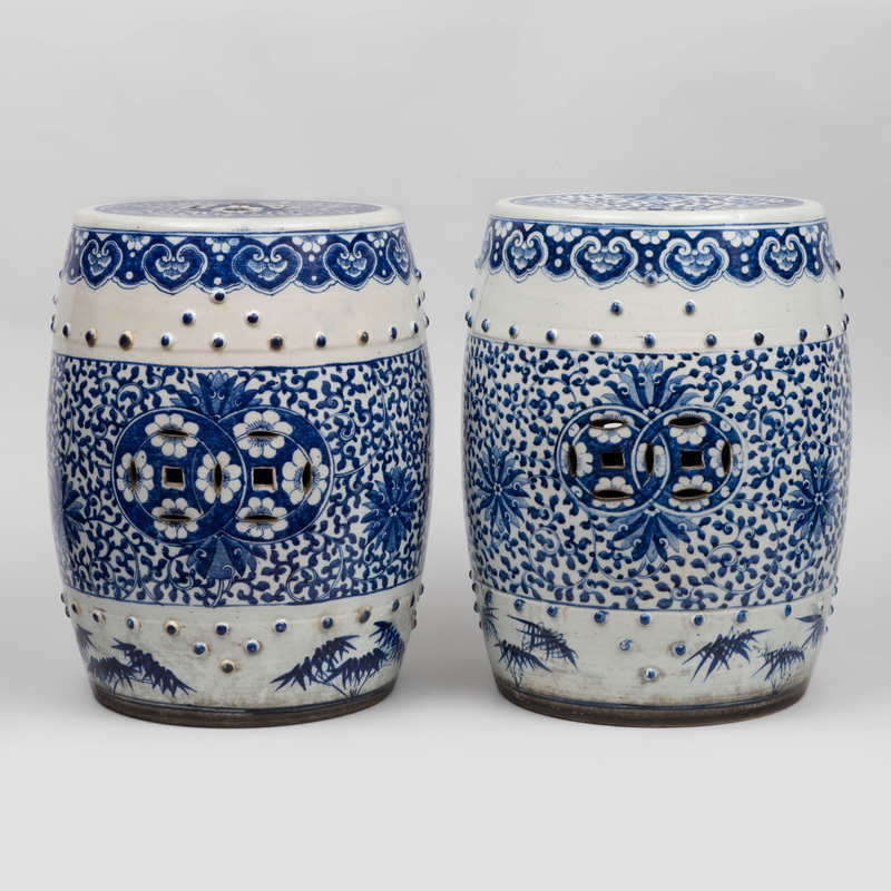 Pair of Chinese Blue and White Porcelain Garden Seats