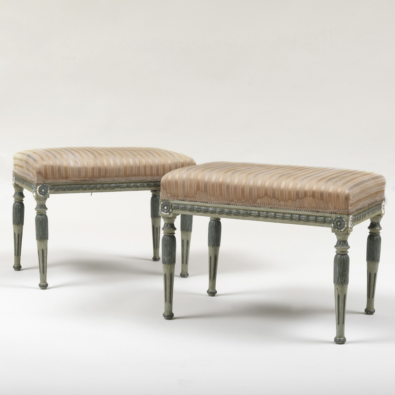 Pair of Directoire Painted Tabourets