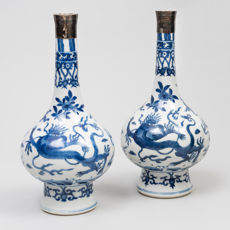 Pair of Chinese Silver-Mounted Blue and White Porcelain 'Mythical Beast' Bottle Vases