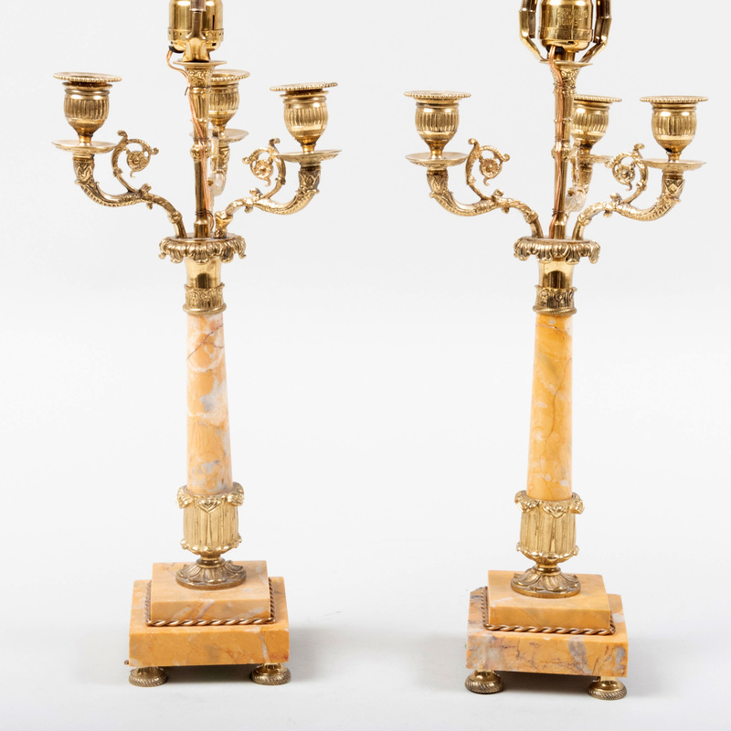 Pair of Regency Style Gilt-Bronze and Siena Marble Four Light Candelabra, Mounted as Lamps