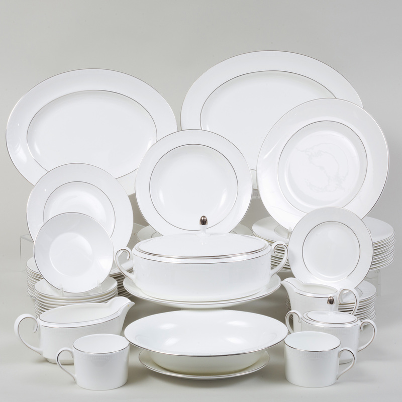Wedgwood Porcelain Part Service, in the 'Blanc Sur Blanc' Pattern Designed by Vera Wang