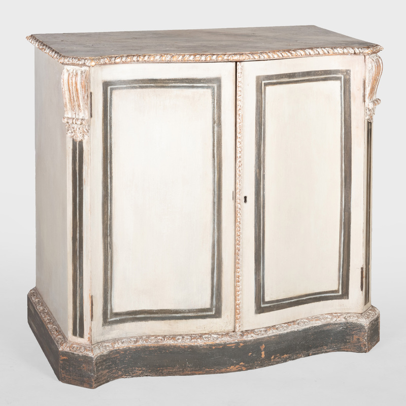 George III Style Painted Pine Serpentine Fronted Cabinet