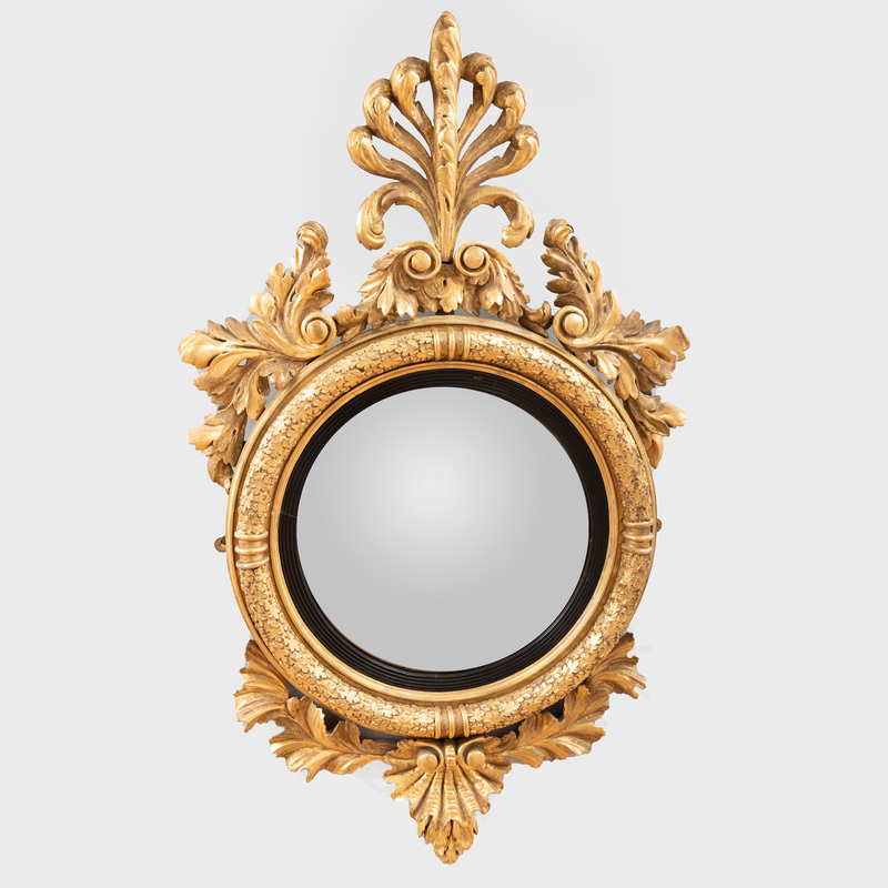 Regency Giltwood and Ebonized Convex Mirror