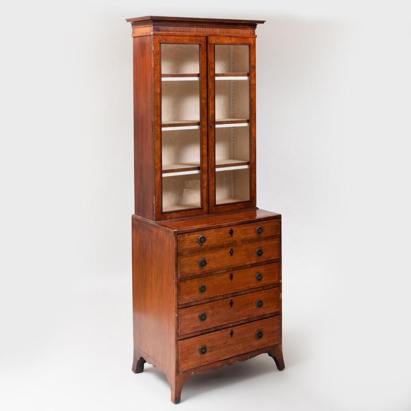 George III Inlaid Satinwood Secretary Bookcase