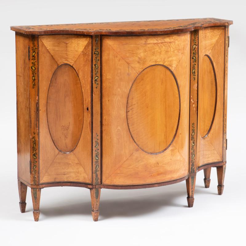 George III Polychrome Painted Satinwood Serpentine-Fronted Cabinet