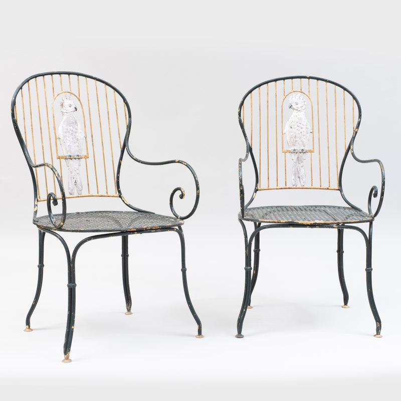 Pair of Painted Wrought-Iron Armchairs with Cockatoos