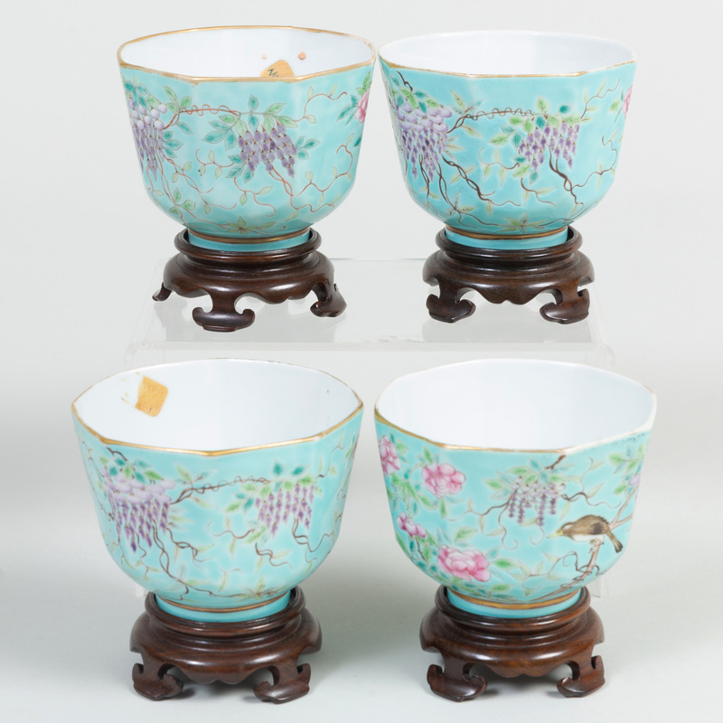 Set of Four Chinese Turquoise Glaze Porcelain Guangxu Type Cups with Bird and Wisteria Design