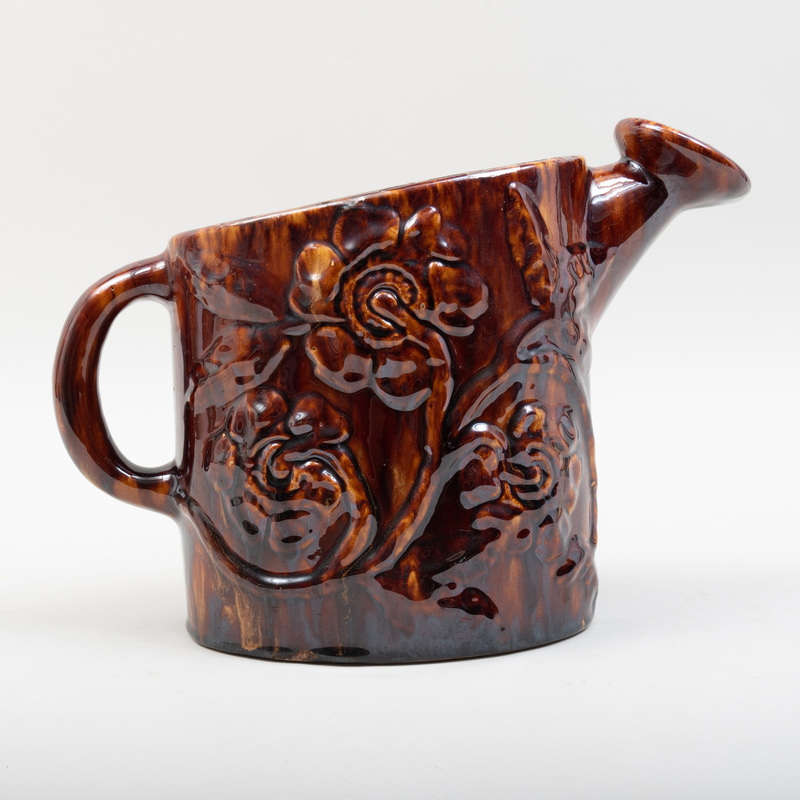 Treacle Glazed Pottery Model of a Watering Can, Probably American