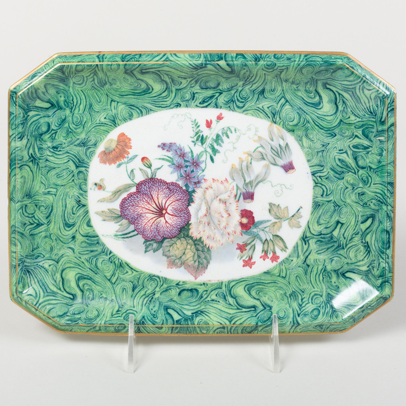 Continental Porcelain Faux Malachite Decorated Tray