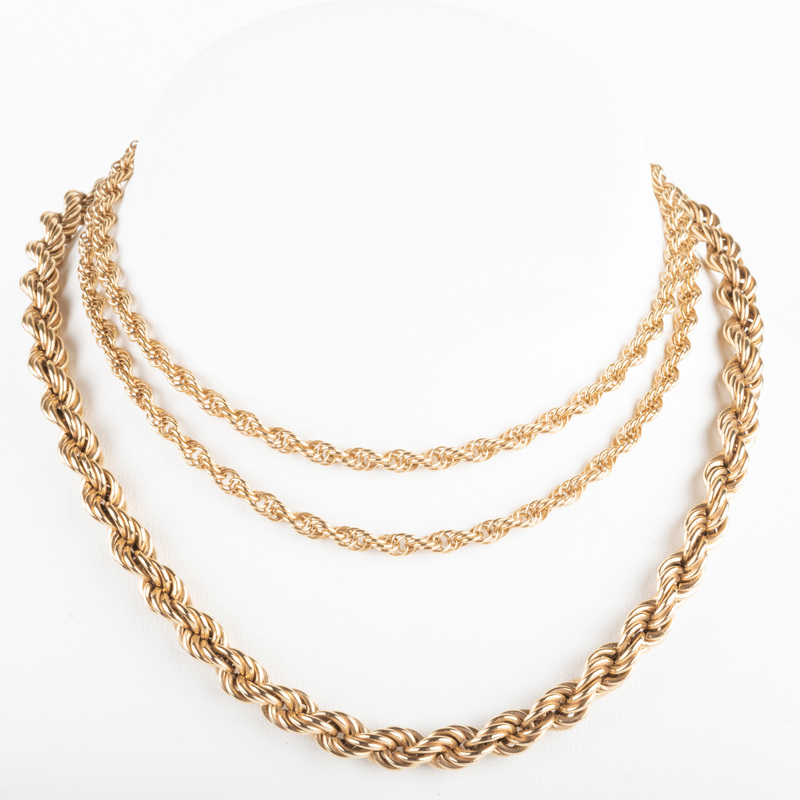 Two 14k Gold Rope Twist Necklaces