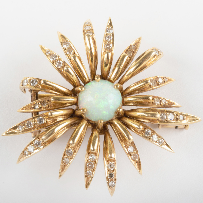 French 18k Gold, Diamond and Opal Floral Brooch