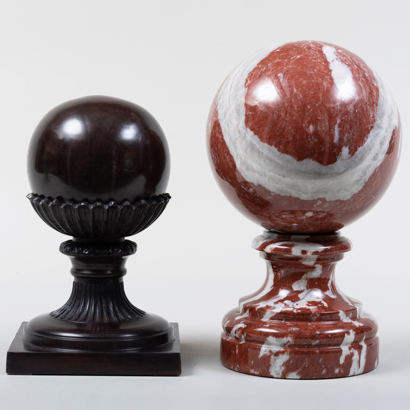 Continental Patinated Bronze Finial and a Marble Finial