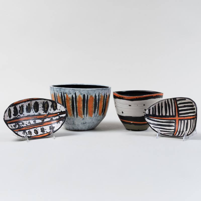 Group of Four Gorka Livia Glazed Earthenware Vessels
