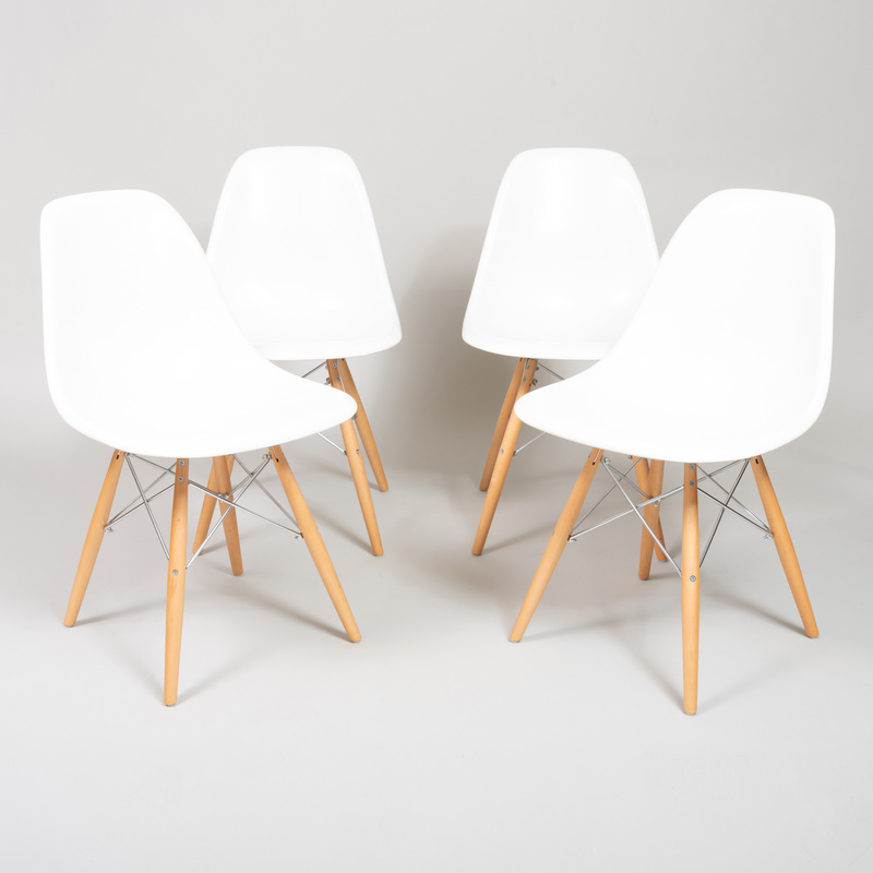 Set of Four Eames Style Fiberglass Chairs, by Modernica