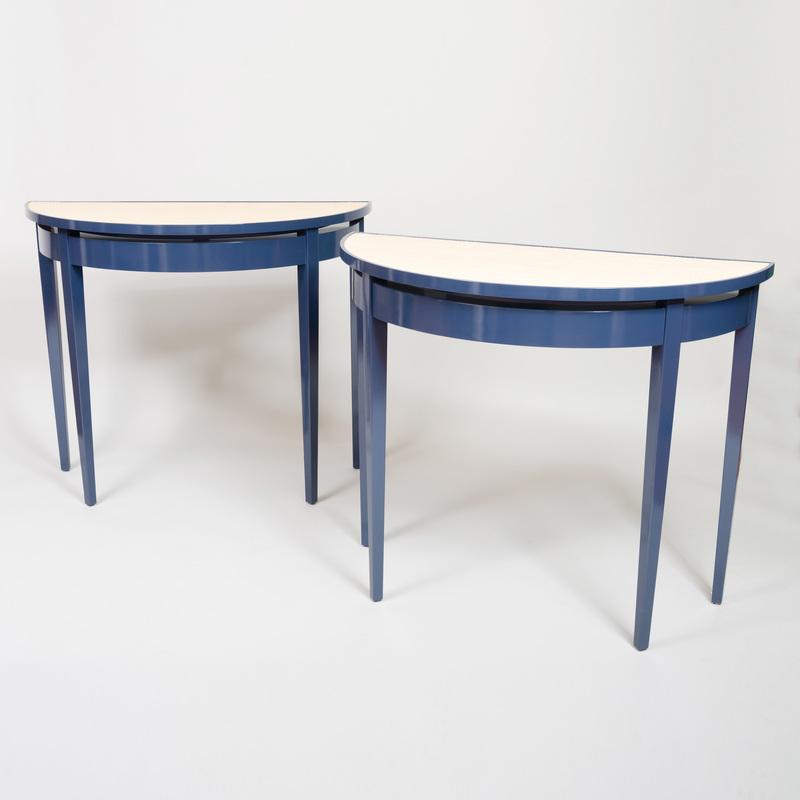 Modern Blue Painted and Sea Grass Console, of Recent Manufacture