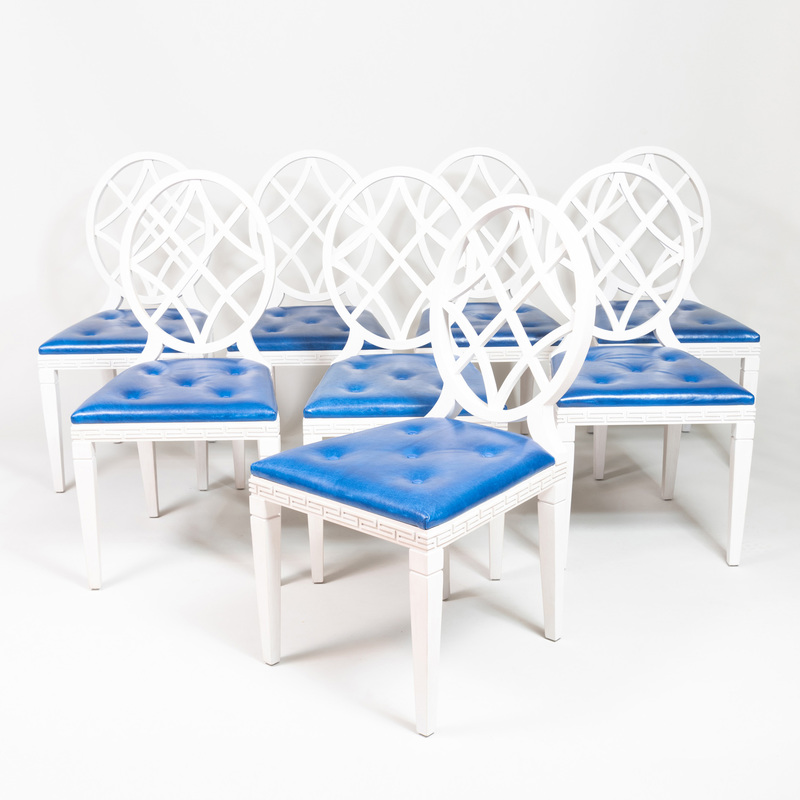 Set of Eight Ballard Design White Painted Side Chairs, Designed by Miles Redd