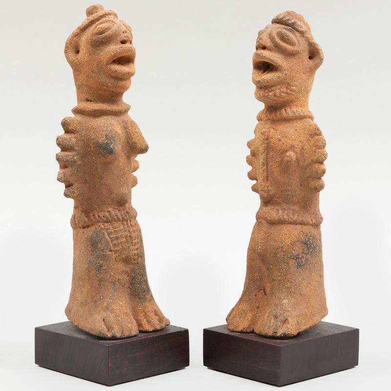 Pair of  Koma Terracotta Standing Figures, Ghana