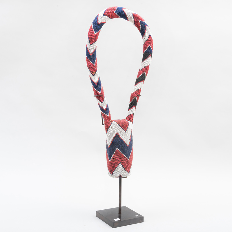 West African Beadwork Ceremonial Necklace, Possibly Maasai
