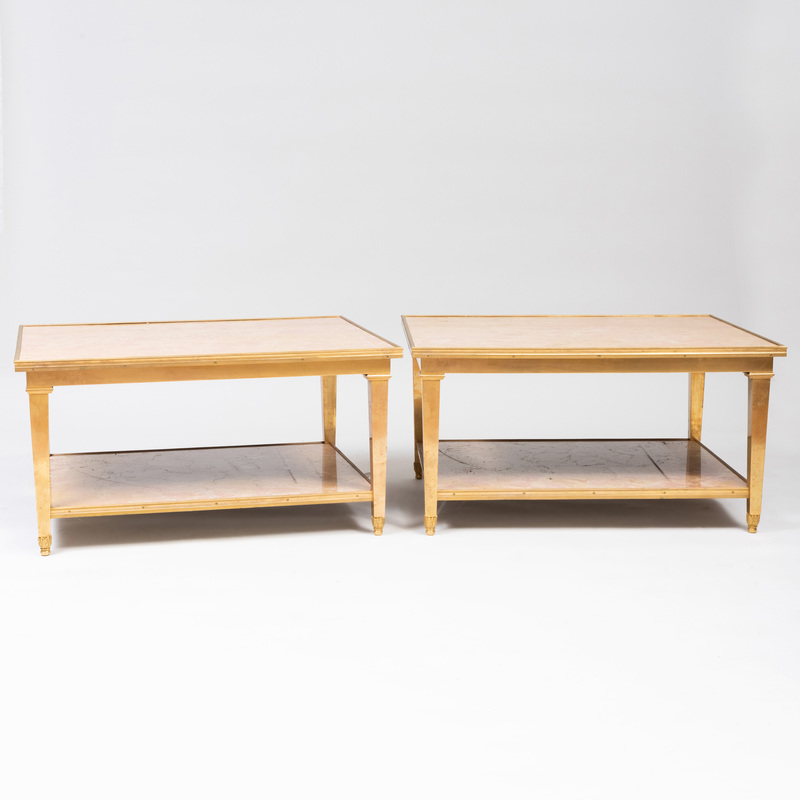 Pair of Lorin Marsh Brass-Mounted Marble Two Tier Low Tables