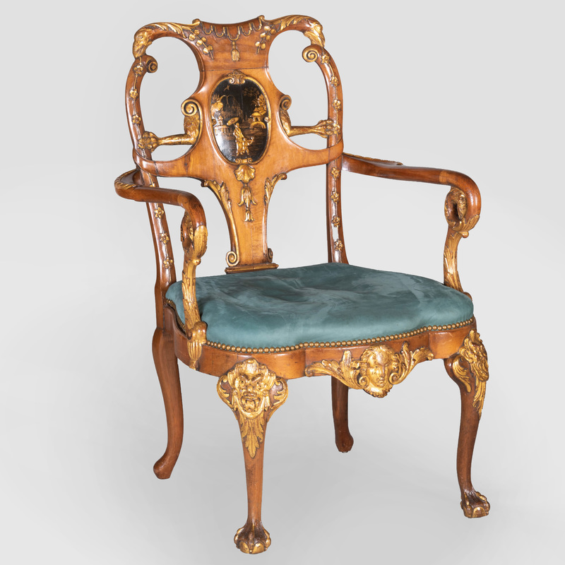 Unusual George II Style Walnut, Lacquer and Parcel-Gilt Armchair