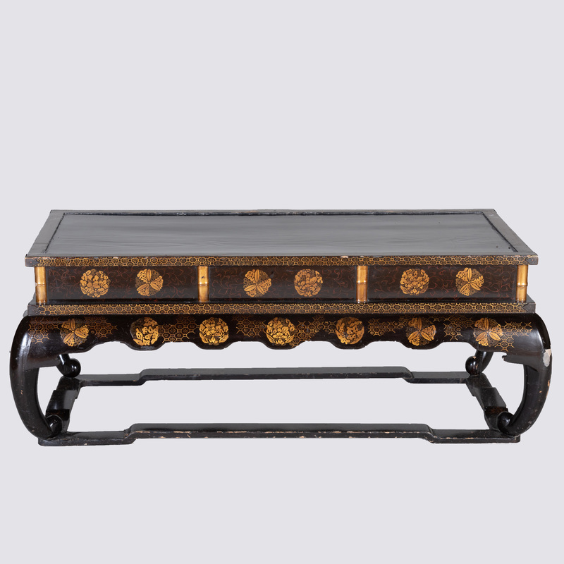 Japanese Black Lacquer and Parcel-Gilt Low Table