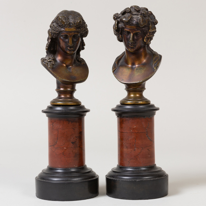 Pair of French Bronze Busts of Apollo and Eros