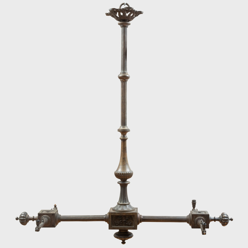 Victorian Bronze Four-Light Billiard Chandelier