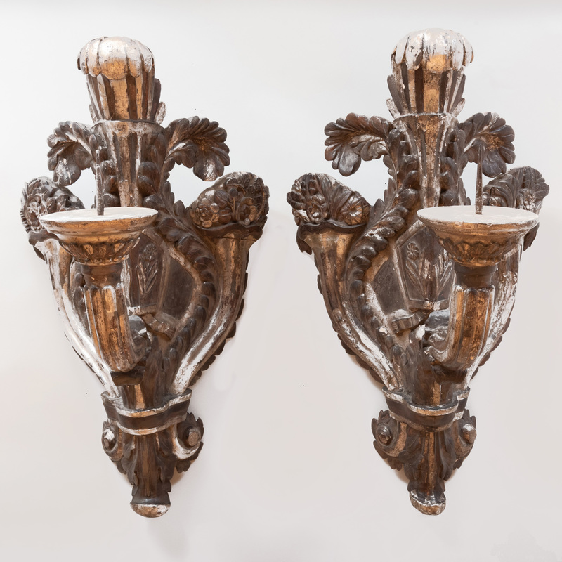 Pair of Large Italian Baroque Silver-Gilt and Grey Painted Corner Pricket Sconces