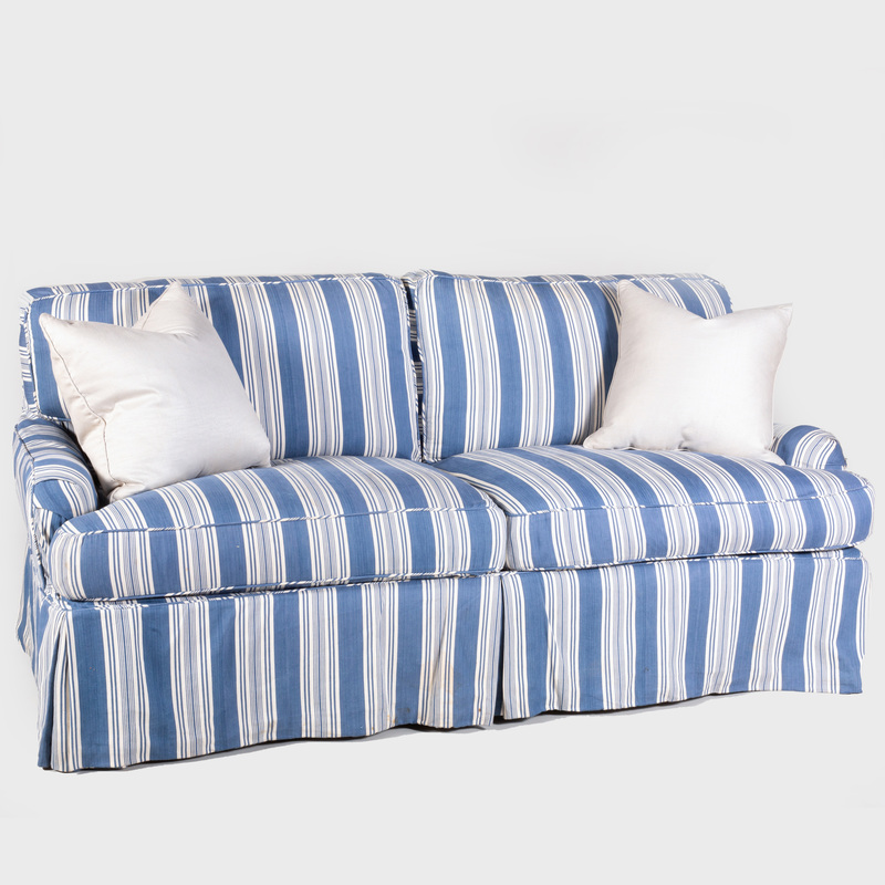 Blue and White Striped Cotton Upholstered Sofa