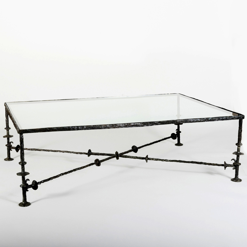 Modern Bronze and Glass Low Table, in the Manner of Giacometti