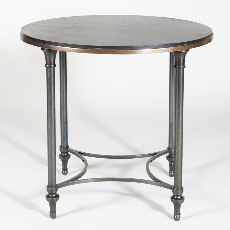 Modern French Gun Barrel Metal and Patina Brass Table with Slate Top, In the Manner of Louis Sue