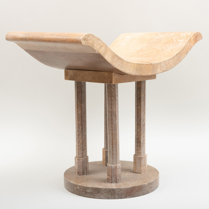 Modern Wood and Parchment Stool, in the Manner of Karl Springer