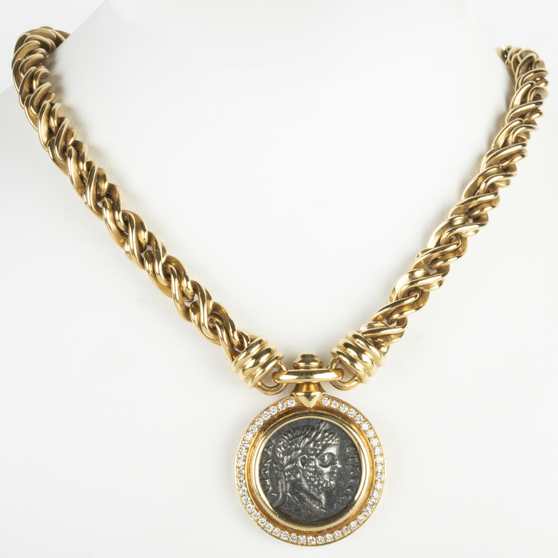 18k Gold and Diamond Coin Pendant Necklace