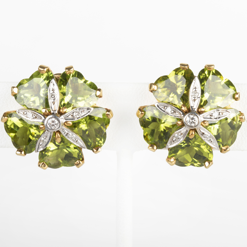 Pair of 18k Gold, Peridot and Diamond Earclips