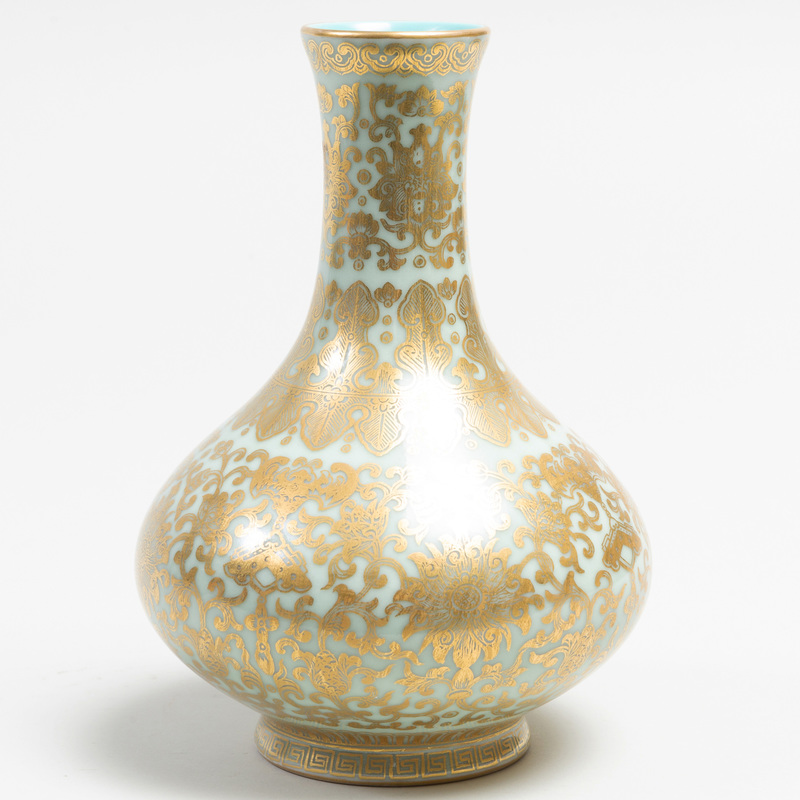 Chinese Celadon Porcelain Gilt-Decorated Vase