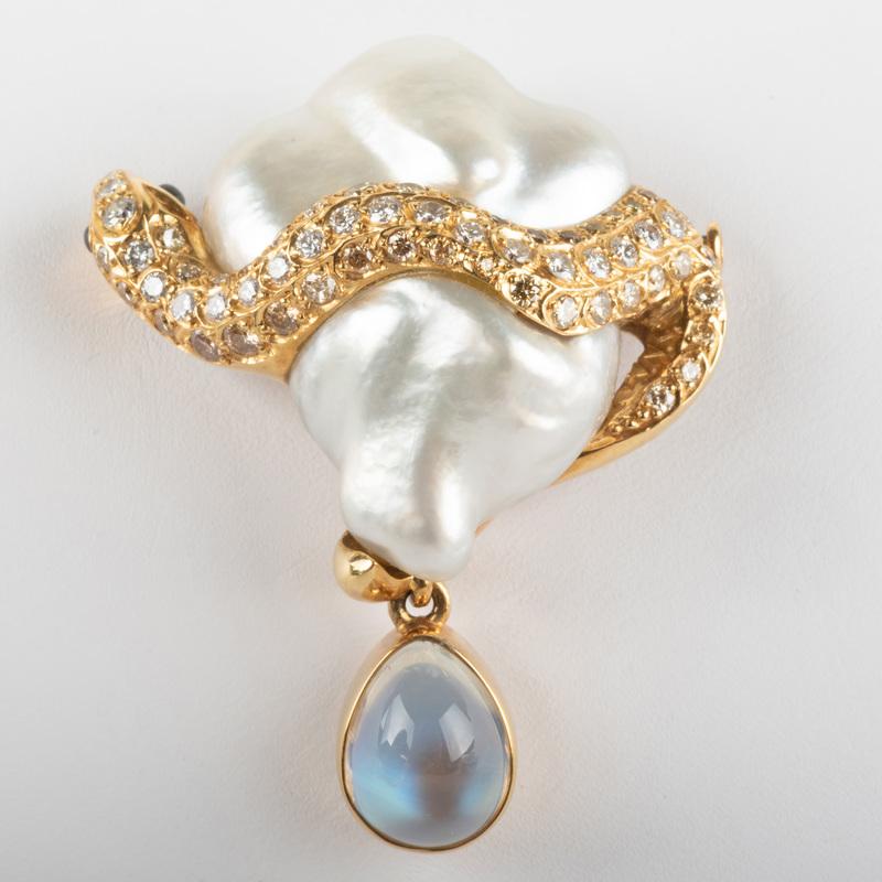 18k Gold, Baroque Pearl, Moonstone and Diamond Snake Pin
