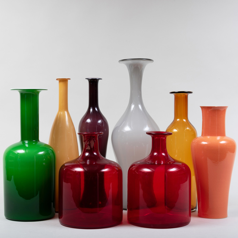 Group of Seven Contemporary Glass Vessels