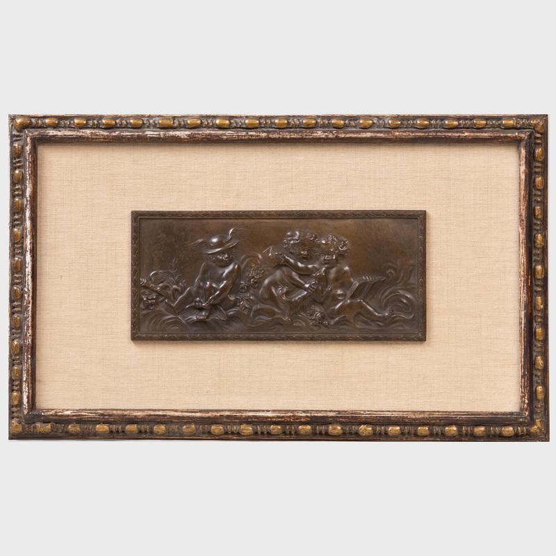 Continental Bronze Plaque Depicting Putti