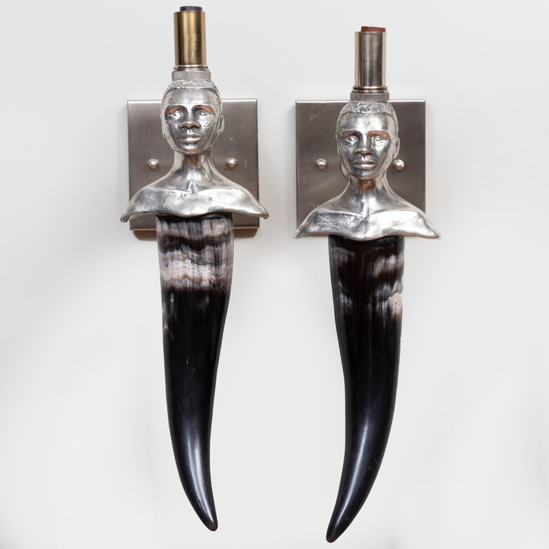 Pair of  South African Metal-Mounted Horn Figural Sconces