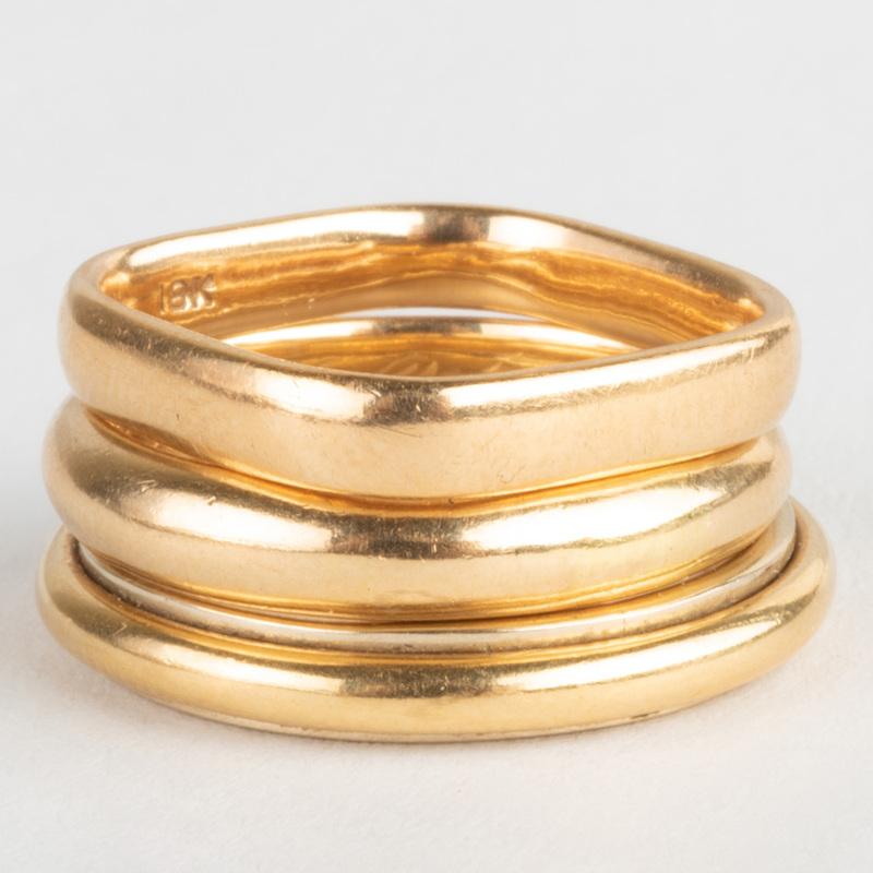 Three 18k Gold Band Rings