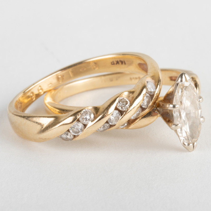 Ladies 14k Gold and Diamond Engagement Ring and 14k Gold and Diamond Wedding Band