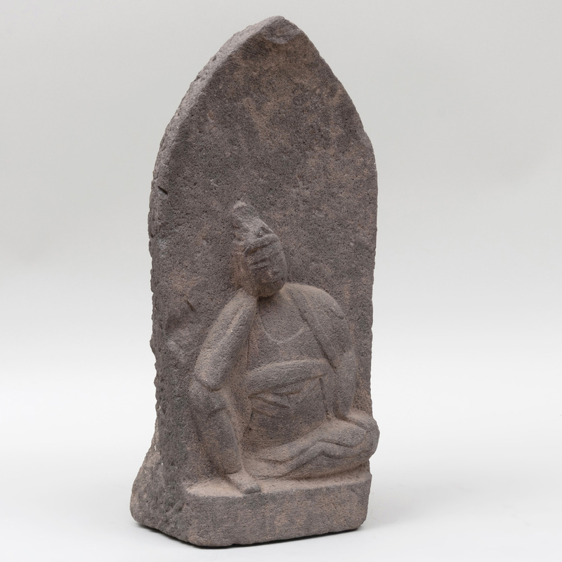 Japanese Carved Stone Buddhist Figure