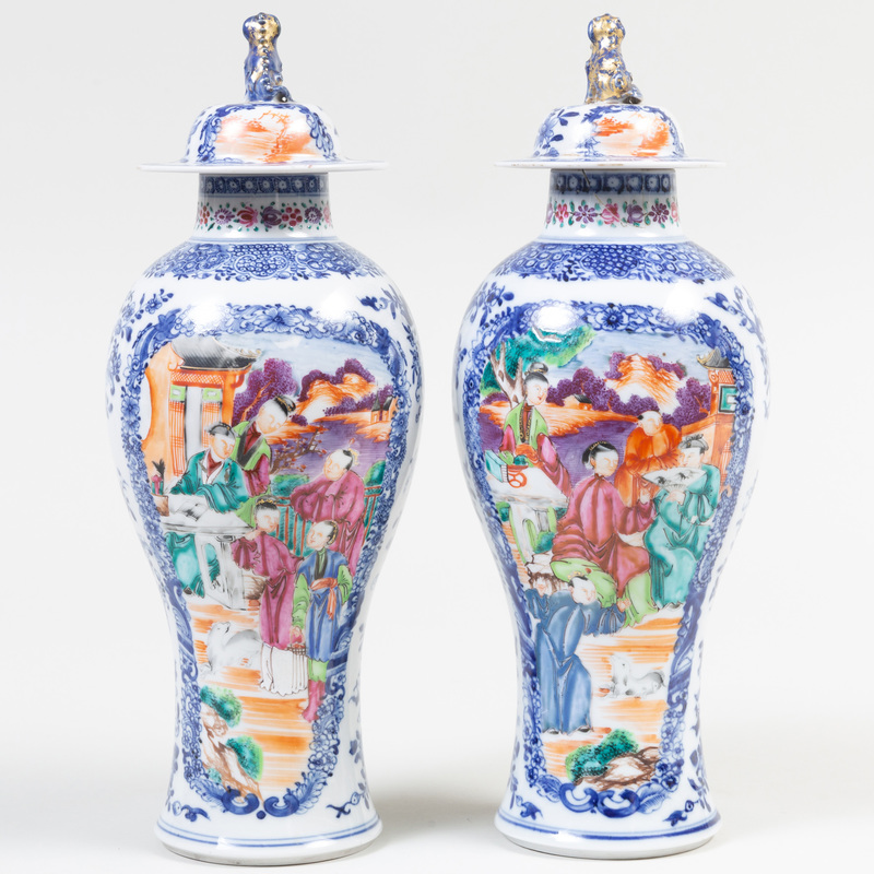 Pair of Chinese Export Mandarin Palate Porcelain Vases and Covers