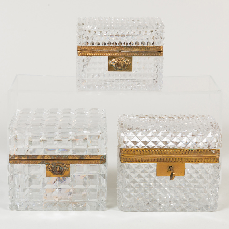 Set of Three Gilt-Metal-Mounted Cut Glass Table Caskets